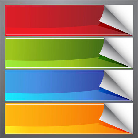 An image of blank page curl banners.