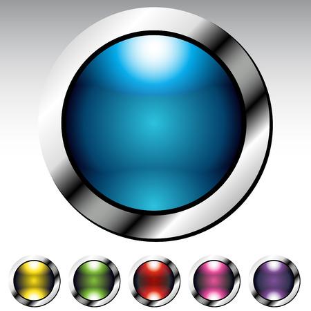 金属光沢のあるボタンのイメージを設定します。  イラスト・ベクター素材