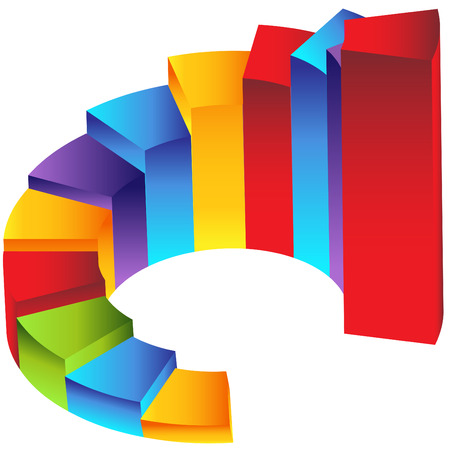 An image of a 3d staircase step column chart.