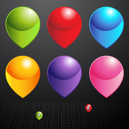 An image of a mapping pin set. Vector
