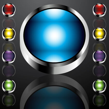 An image of big chrome buttons. Stock Vector - 7944343