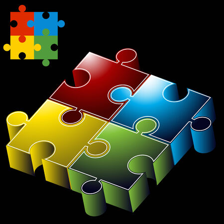 dimensional: An image of 3D puzzle pieces.