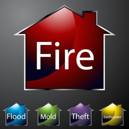 incendio casa: Una imagen de iconos de seguros hogar  Vectores