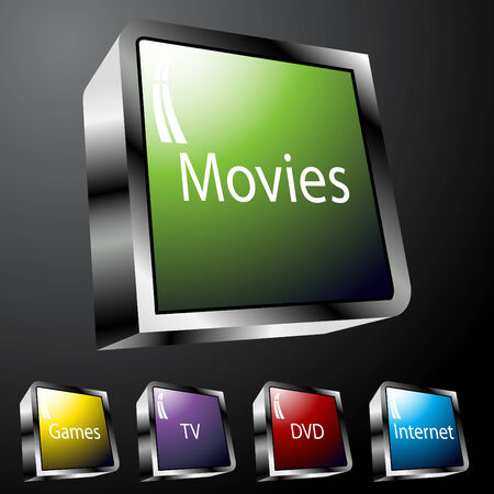 movie set: An image of entertainment buttons.