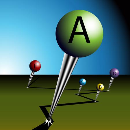 Een afbeelding van een grote weg toewijzing pushpins.