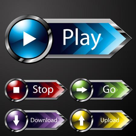 boton stop: Una imagen de los botones del men� de medios de comunicaci�n de cromo.  Vectores