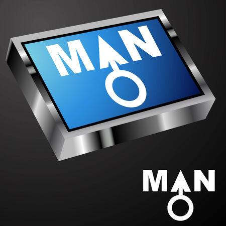 chrome man: An image of a blue man button.