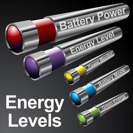An image of energy battery menu bars. Vector