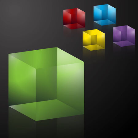 젤리: An image of colorful transparent 3D cubes.