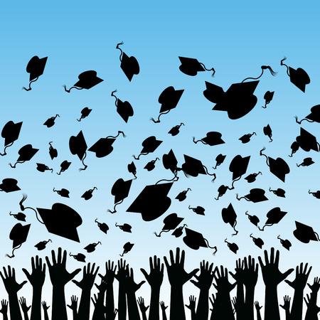 Een afbeelding van de studenten afstuderen.  Stock Illustratie