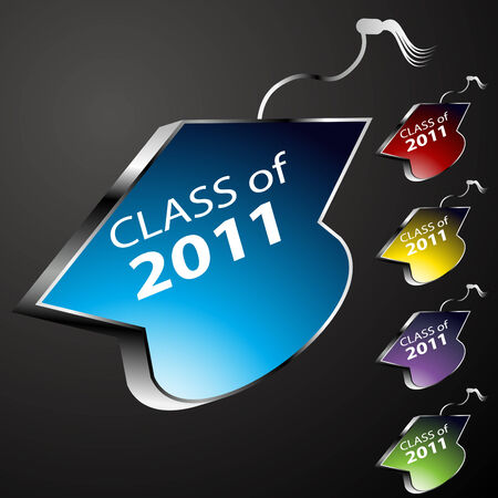An image of a graduating class cap buttons - 2011. Vector