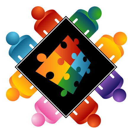 Een afbeelding van een puzzel oplossen team. Vector Illustratie