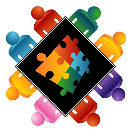 interracial: Una imagen de un rompecabezas que resolver el equipo.  Vectores