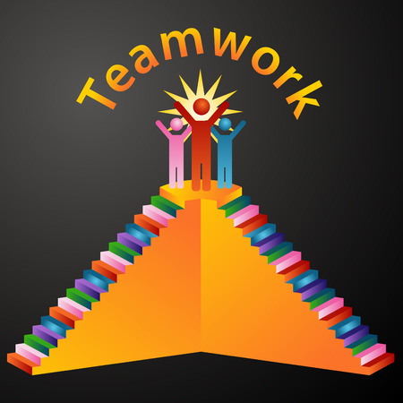 achievement clip art: An image of teamwork stairs.