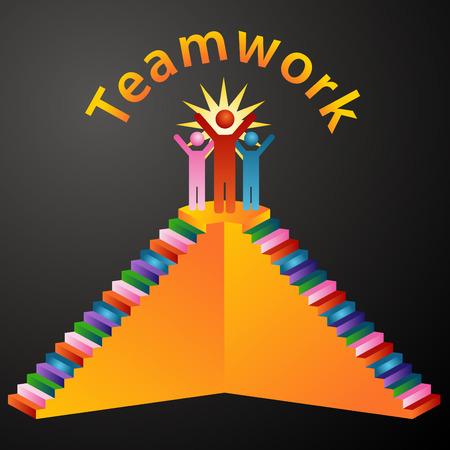 interracial: Una imagen de escaleras de trabajo en equipo.  Vectores
