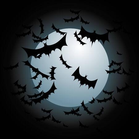 Een beeld van vleermuizen vliegen met een volle maan.