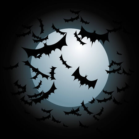 An image of bats flying with a full moon. Vettoriali