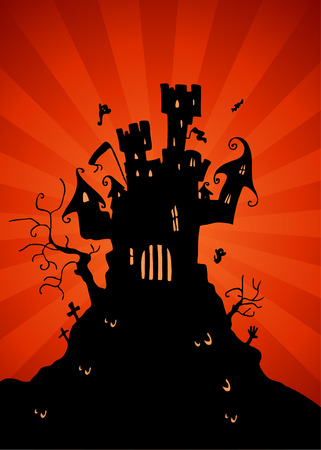 An image of a haunted castle. Vector