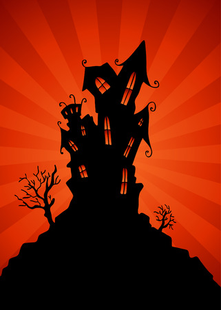 haunted: An image of a haunted mansion. Illustration