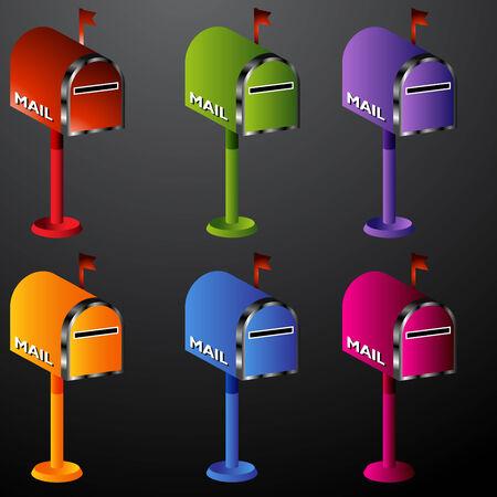 An image of a mailbox icon set. Ilustração Vetorial