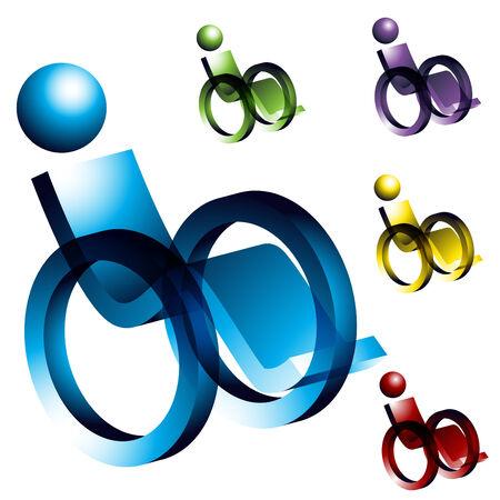 핸디캡: An image of 3d wheelchair icons. 일러스트