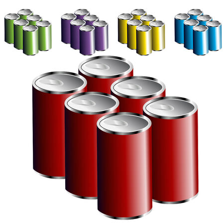 An image of a six pack of cans. Vectores