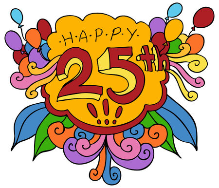 An image of a Happy 25th design element. Иллюстрация