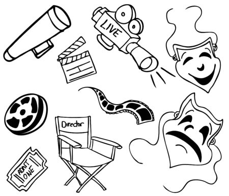 film industry: An image of movie items.