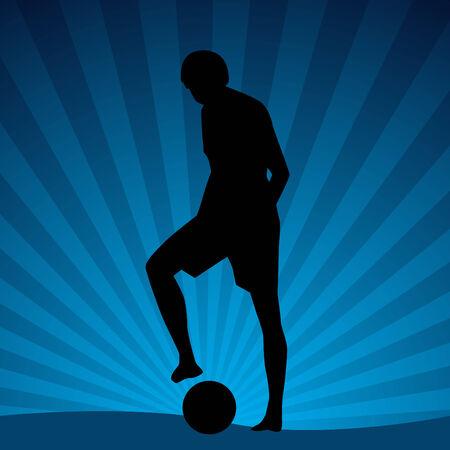 An image of a beach soccer player. Vector