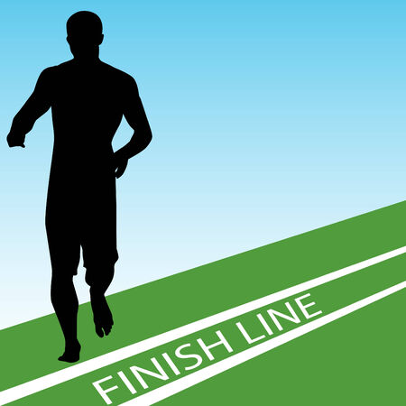 An image of a runner at the finish line. Vector
