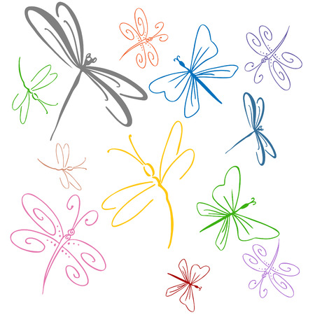 dragon fly: An image of a dragonfly set. Illustration