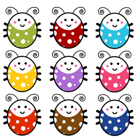 An image of a cute cartoon ladybug set. Stock Vector - 8000384