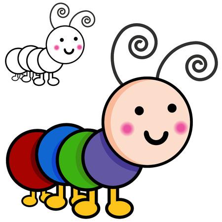 An image of caterpillar cartoon bugs. Ilustração