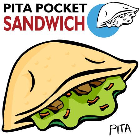 An image of a Pita Pocket Sandwich. Vector
