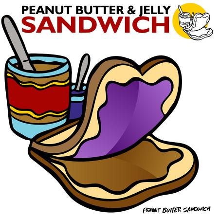 Una imagen de un sandwich de jalea de maní.  Ilustración de vector