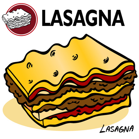entrees: An image of a Lasagna Slice. Illustration