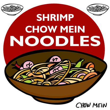 An image of Shrimp Chow Mein Noodles. Vector