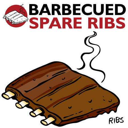 An image of Barbecued Spare Ribs. Vector