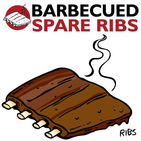 rib: Una imagen de asado Spare Ribs.  Vectores