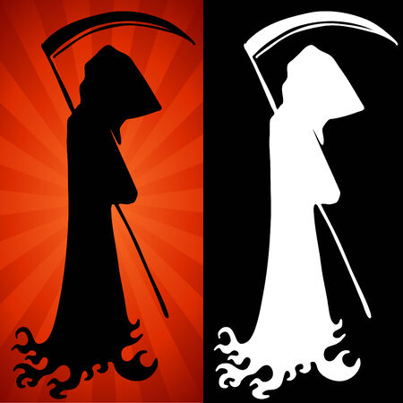 reaper: An image of a grim reaper set. Illustration