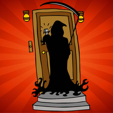 knocking: An image of the grim reaper representing knocking on deaths door. Illustration