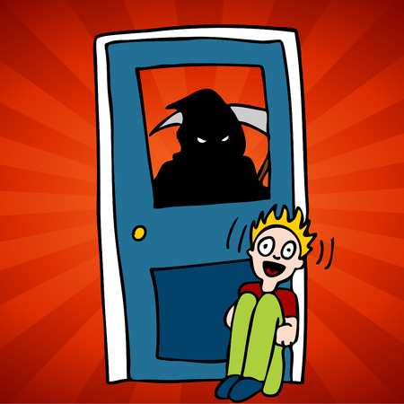 harbinger: An image of the grim reaper representing knocking on deaths door. Illustration