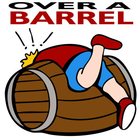 dire: An image representing being over a barrel.