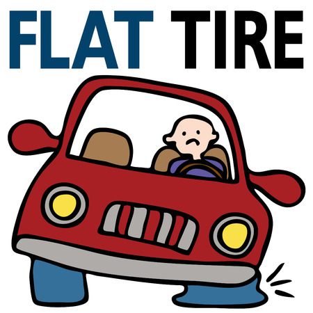 car isolated: Flat Tire
