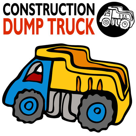 An image of a cartoon dump truck. Vector