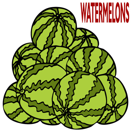 An image of a stack of watermelons. Vector