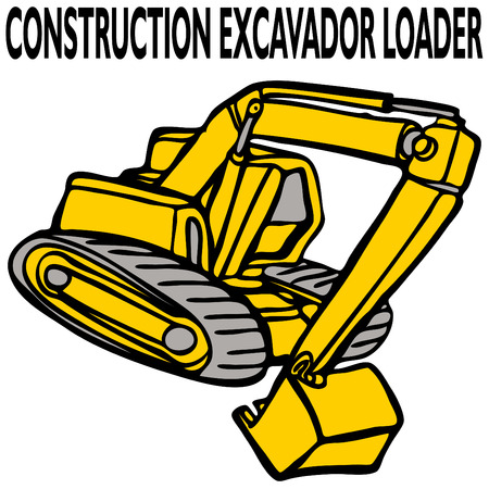 An image of a construction excavator loader. Vector