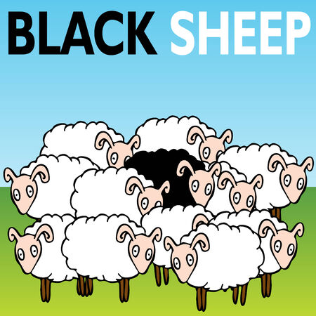 An image of the black sheep of the family. Stock Vector - 8058187