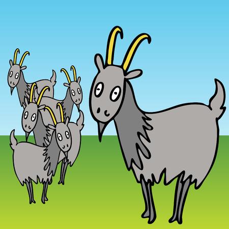 Una imagen de un grupo de cabras.  Ilustración de vector