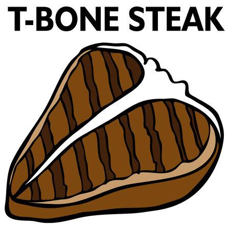 An image of a T-Bone steak. Vector